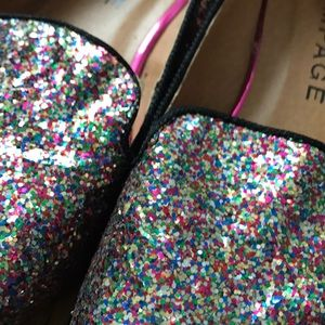 NWOT glitter loafers